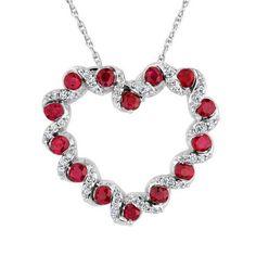 Ruby and Diamond Twist Heart Pendant 1/15ctw - Item 19447549 | REEDS Jewelers