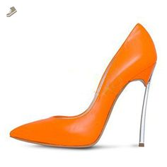 Onlymaker Women Fashion Pointed Toe Pumps High Heel Stilettos Sexy Slip On  Dress Shoes Cattle Orange 8f4e22648df2