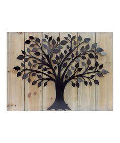 Look at this #zulilyfind! Wood & Metal Tree Wall Art by MCS Industries #zulilyfinds