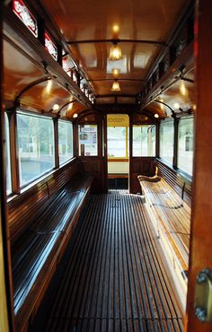 Manchester Tram 765 interior at Beamish Museum, UK Train Art, By Train, Train Tracks, Train Rides, Locomotive, Orient Express Train, Manchester Travel, Tramway, Ticket To Ride