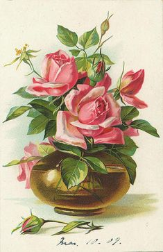 pink rose bouquet in gold vase ~ dated March 10th, 1909