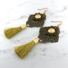 Gold Tassel earrings  Filigree drop earrings gift for her boho  Antique Bronze by VividSister on Etsy https://www.etsy.com/au/listing/534287414/gold-tassel-earrings-filigree-drop