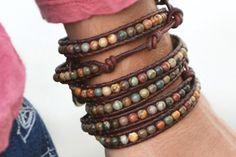 Triple wrap leather bracelet Picasso jasper by JustWanderlustShop