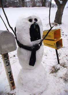 Even though the last strip of Calvin and Hobbes was published on December 31, 1995, apparently Calvin's crazy snowman ideas lived on! Forget the traditional carrots and pebbles – these snowman artists have pulled out all the stops. If there's good snow on the ground where you are, get out there, make a snowman and share your pictures with us!