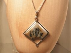 Dendritic Agate Sterling Silver Pendant with Sterling Silver Chain. $178.00, via Etsy.