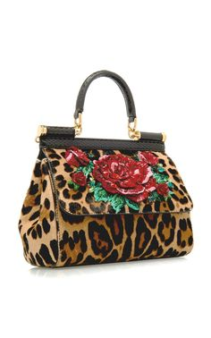 Dolce and Gabbana   Sicily Embellished Animal Leopard Print Pony Hair Bag  Novelty Handbags, Pinup 9e4570b713