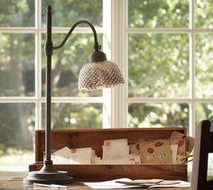 Chloe Hobnail Mercury Glass Task Table Lamp   Pottery Barn