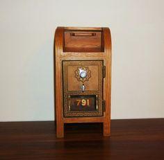 US Post Office Box Door Mailbox Shaped Bank by andreasantiques, $85.00