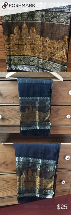 "NWOT! Silk Angkor Wat Cambodian scarf 100% silk scarf from Angkor Wat with temple design; never worn; measurements: 72""x12""; not Anthropologie - just listed for exposure. Anthropologie Accessories Scarves & Wraps"