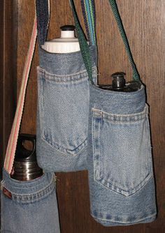Pickin' and Throwin': Water Bottle Holder/Carrier Sewing Pattern Pickin & # und Throwin: Wasserflaschenhalter / Träger-Schnittmuster Water Bottle Carrier, Water Bottle Holders, Bottle Bag, Water Bottles, Jean Crafts, Denim Crafts, Sewing Crafts, Sewing Projects, Sewing Tutorials