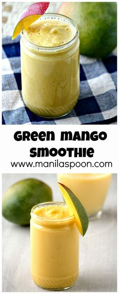 Refreshingly delicious is this sweet-tangy smoothie loaded with fresh mango flavors! #green #mango #smoothie #shake