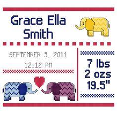 Chevron Elephant Cross Stitch Birth Announcement Pattern
