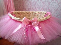I use tutu table skirts quite a bit.  For baby showers, bridal showers, dance events for the girls, etc.  I never thought to skirt a basket.  Great idea!  Noted!