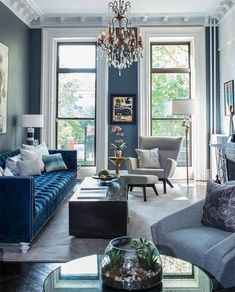 Beautiful Eclectic style all blue living room decor with blue velvet tufted sofa and grey armchair Beautiful Eclectic style all blue living room decor with blue velvet tufted sofa and grey armchair, blue decor, cobalt blue living room with blue sofa Blue Velvet Sofa Living Room, Blue Living Room Decor, Glam Living Room, Living Room Sofa, Blue Living Room Furniture, Space Furniture, Living Room Ideas Grey And Blue, Grey Living Room Inspiration, Living Room With Grey Sofa