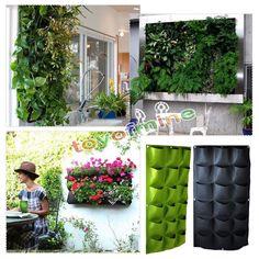 18 Pocket Vertical Indoor/Outdoor Hanging Wall Garden Planting Bags Wall Planter Green 18 for $13