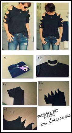 ideas diy ropa reciclada remeras for 2019 Diy Cut Shirts, T Shirt Diy, Cutting Shirts, Diy T Shirt Cutting, Diy Tshirt Ideas, Tee Shirt Crafts, Cut Up Tshirt Ideas, Cut Up T Shirt, Retro Shirts