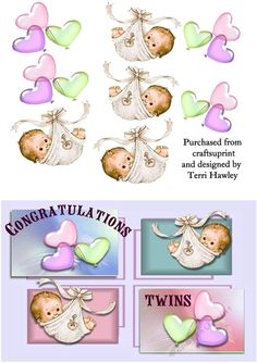 A delightful  3D Decoupage card front to celerbrate the arrival of twins, can be girl's or boy's or one of each.  Very easy to make.