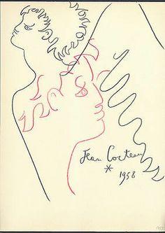 Dessin aux Crayons de Couleurs Signé Jean Cocteau, d'après. Line Illustration, Illustrations, Notebook Sketches, Painting Collage, Paintings, Jean Cocteau, Great Works Of Art, Multimedia Artist, Gay Art