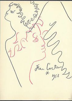 Dessin aux Crayons de Couleurs Signé Jean Cocteau, d'après.