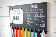 Painted with black chalkboard paint. There are places to record your PR's in the 5K, 10K, half marathon, and full marathon. Chalk included (because we are awesome like that). If you would like differe