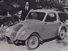 Designer Dante Giacosa with Fiat 500 Prototype, Piedmont, Italy, October 1934.Antonio Fessia photo.