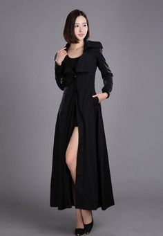 Women's Elegant Long Trench Stylish One-Button Closure Swing Coat 3 Colors S-2XL