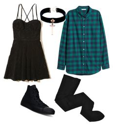 """""""Getting Black to the Flannel"""" by rachel-rosalie-idzerda on Polyvore featuring Converse, Hollister Co., HYD and VSA"""