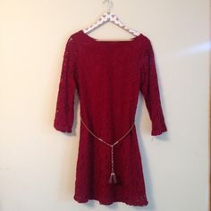 Wine Lace Dress Women's 10, Msrp $110. Brand is Sharagano. Fringe brown/gold belt. Sleeves are sheer. Lined. 3/4 sleeve Sharagano Dresses Long Sleeve