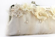 pearl, lace and flower clutch