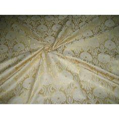00305a2c919 Heavy Silk Brocade Fabric Light Gold  amp  Ivory color 44