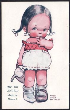 """""""Imp or Angel""""...Mabel Lucie Attwell postcard"""