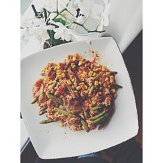 Taco-dish corn, chicken, asparagus beans, tomato sauce and a lot of yummy spices!!
