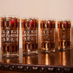 Gold & Ruby Red Barware Glasses Four 4 Mid by LightlySaucedRetro, $89.99