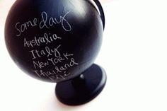 Via Jeanie RhoadesThis would make a great novelty memo board in a home office! Blackboard Paint, Chalk Paint, Chalkboard Ideas, Blackboards, Paint Ideas, Creative Ideas, Globe, House Design, Journal