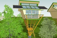 Backyard star gazing tower.  . . . .  This one might be able to be used in winter, too! Though, I really like the idea of no roof - nothing between me & the sky.   . . . . .  . . .  self sufficient eco friendly bamboo tree house