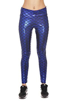 f88163fa66f Pink Queen Women s Mermaid Fish Scale Print Leggings Ankle Length Skinny  Tights    Tried it!   Plus size Activewear