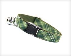 Cat Collar  Walden  Sage & Moss Green Plaid / Check by MadeByCleo