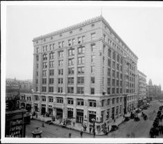 External view of the Herman W. Hellman building on Spring Street and 4th Street, Los Angeles, 1908 :: California Historical Society Collection, 1860-1960
