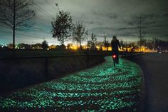 The Van Gogh-Roosegaarde cycle path (Eindhoven/ Netherlands). Thousands of blue & green glowing stones illuminate the path at nighttime with a gentle glow inspired by Van Gogh's world-famous painting, Starry Night. Vincent Van Gogh, Van Gogh Pinturas, Gogh The Starry Night, Van Gogh Paintings, Bike Path, Dutch Artists, Light Installation, Urban Design, Landscape Architecture
