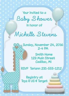 Our baby giraffetheme invitation in blue forbaby boy is designedwitha blue and white polka dot background with floating pastel blue balloons. The polka dotted giraffe has brown accents and a traditional pastel wooden stackingtoy isfeatured as well.Matching personalized baby shower stickers are always a neat ide...
