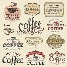 Mão desenhada de rótulos Vintage café vetor e ilustração royalty-free royalty-free