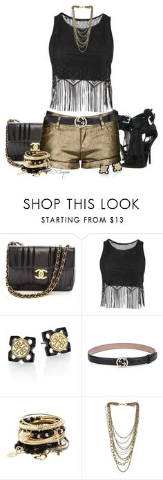 """""""Metallic Shorts"""" by ccroquer ❤ liked on Polyvore featuring Giuseppe Zanotti, Chanel, Tory Burch, Gucci and Miss Selfridge"""