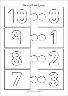 Number Bonds Making 10 Jigsaw Pieces – Black and White Teaching Numbers, Teaching Plan, Math Numbers, Teaching Math, Kindergarten Math, Math Classroom, Number Bonds To 20, Number Games, Math Resources
