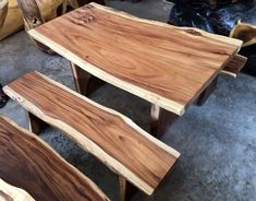 Excited to share this item from my shop: Live Edge Dining Table and Two Bench Set Reclaimed Golden Acacia Wood Solid Slab (Live Edge Shape) 150 cm Length Wood Slab Dining Table, Dining Table In Kitchen, Slab Of Wood, Wood Slab Countertop, Live Edge Countertop, Dining Tables, Outdoor Dining, Countertops, Log Furniture