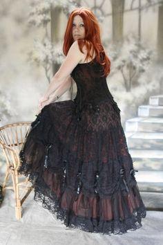 Gothic Wave Victorian Tüll Rock Elvira schwarz w- rot bordeaux 36 38 40 42