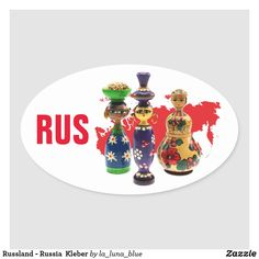 Russland - Russia  Kleber Ovaler Aufkleber Blue, La Luna, Matryoshka Doll, Map Invitation, Russia, Decals, Puppets