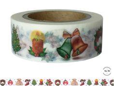 Masking Tape - Washi Tape WEIHNACHTEN GLOCKEN KERZE KRANZ bunt - ein Designerstück von Fitzi-Floet bei DaWanda