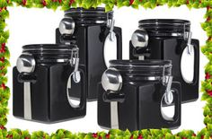 Description black ceramic kitchen canister food storage jar set sugar coffee tea flour spoon this 4 piece ez grip airtight ceramic canisters are not only attractive canisters , with a modern and uniqu Ceramic Canister Set, Kitchen Canister Sets, Coffee Canister, Kitchen Utensils, Food Storage, Kitchen Storage, Kitchen Decor, Storage Ideas, Kitchen Ideas