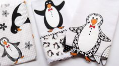 Panos de prato com lindos pinguins em falso patch aplique