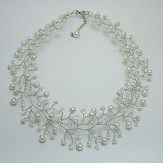 Hand wired bridal necklace by Nanda on Etsy